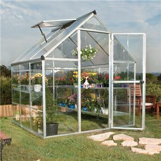 BillyOh 3000S Easy Fit Aluminium Silver Greenhouse with Base and Opening Vent