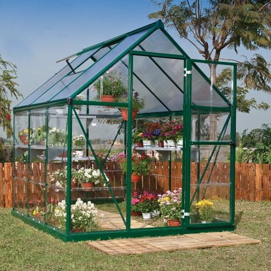 BillyOh 5000s Easy Fit Aluminium Green Framed Polycarbonate Greenhouse 6 x 6
