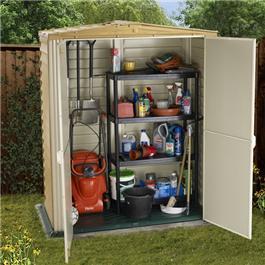 BillyOh 5 x 8 Retford  Plastic Shed Fronted Premium Woodgrain Apex Garden Storage