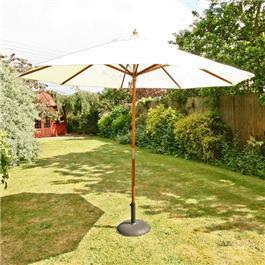 Sturdi 3m Hardwood Frame Garden Parasol - Natural