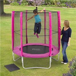 Image of Plum 6ft Pink Round Trampoline with Enclosure